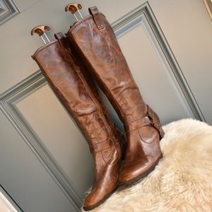 * Brown BORN Susanne Tall Leather Harness Boots